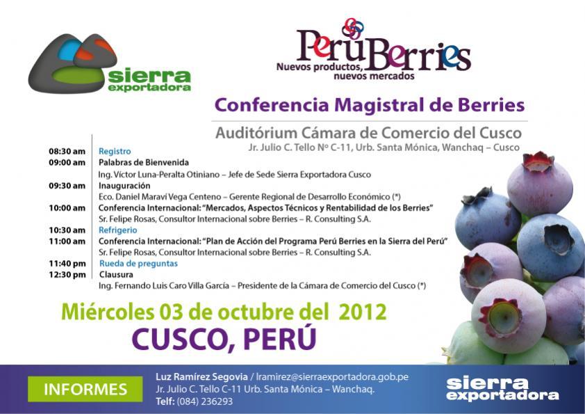 Nombre:  Flyer CONFERENCIA MAGISTRAL DE BERRIES CUSCO-01.jpg Visitas: 1496 Tamaño: 72.3 KB